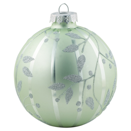 Ball glass pale green w/silver hanging