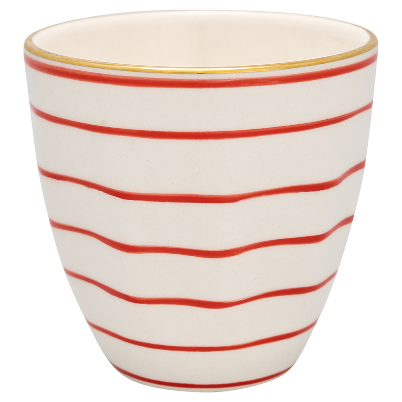 GreenGate Stoneware Latte Cup Sally Red with Gold H:8,7 cm