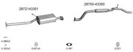 Complete Uitlaat Hyundai H100 2.5 TD 03/1998 - 2002 + montageset (702)