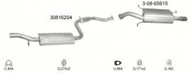 Complete uitlaat Volvo v40/s40 1.6 1.8 2.0 vanaf  bj 2001 Incl. Montageset (2151)