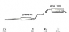 Complete Uitlaat Hyundai Getz 1.1 / 1.3 2002 tm 10-2006 + montageset (701)