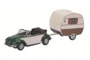 Schuco 26102 Kever Cabrio + Caravan.  1:87