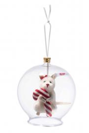 Steiff Muis met zuurstok ornament in glasbol. EAN 006296