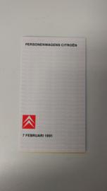 Prijzen en specificaties februari 1991