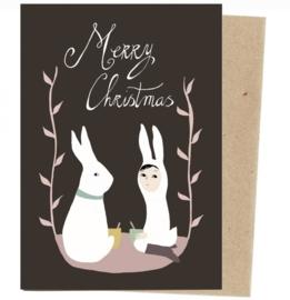 Kerstkaart | kerstkonijn