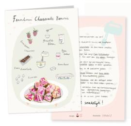 Receptenkaart | frambozen cheese cake brownie