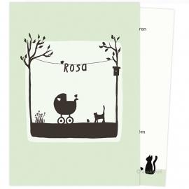 proefkaart | Poes en vogel lente (zacht-groen, gevouwen)