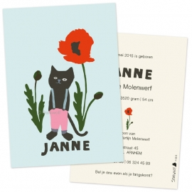 Birth card 'Cat and poppy-blue'