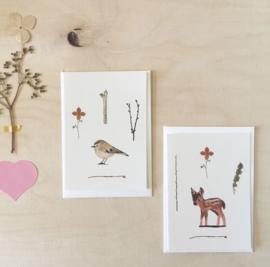 Mini cards and envelop | deer & gold crest (set)
