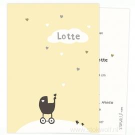 geboortekaartje | Hartjes (geel)
