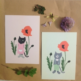 Cat and poppy (green)