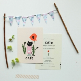 Birth card Pussycat and poppy