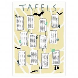 poster 'Tafels 1 tm 12 Vleermuizen' (oker)