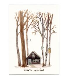 Kerstkaart | klein boshuis