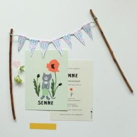 Birth card Cat and poppy (grey)