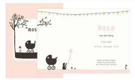 geboortekaartje | Poes en vogel zomer (roze)