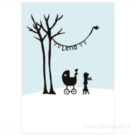 geboortekaartje | Berkenboompjes winter