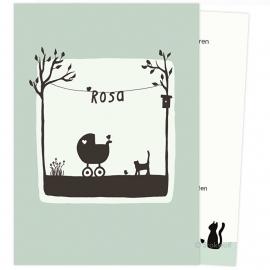 proefkaart | Poes en vogel lente (grijs-groen, gevouwen)
