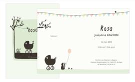 proefkaart | Poes en vogel lente (crème- zacht groen, gevouwen)