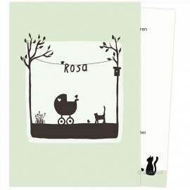 Poes en vogel lente (zacht groen)