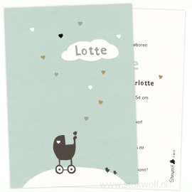 Birth card 'hearts' (ice blue)