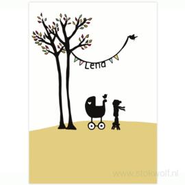 geboortekaartje | Berkenboompjes herfst (geel)