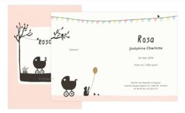 proefkaart | Poes en vogel lente (roze, gevouwen)
