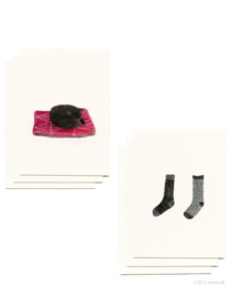 Mini cards and envelop | cat & socks (set)