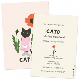 Birth card Pussycat and poppy