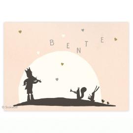 geboortekaartje | Fanfare hartjes (roze)
