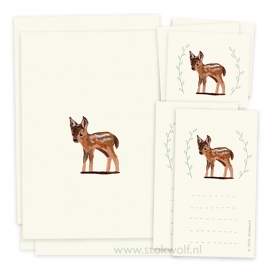 Postcard en stickerset 'Deer'