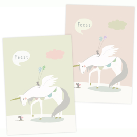 Party invitation | unicorn and mouse