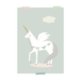 print | Eenhoorn (blauw)