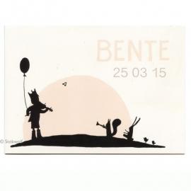 geboortekaartje | Fanfare (creme-roze)