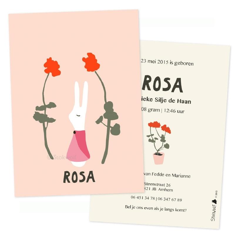 proefkaart | Konijnenmeisje (roze, enkel)