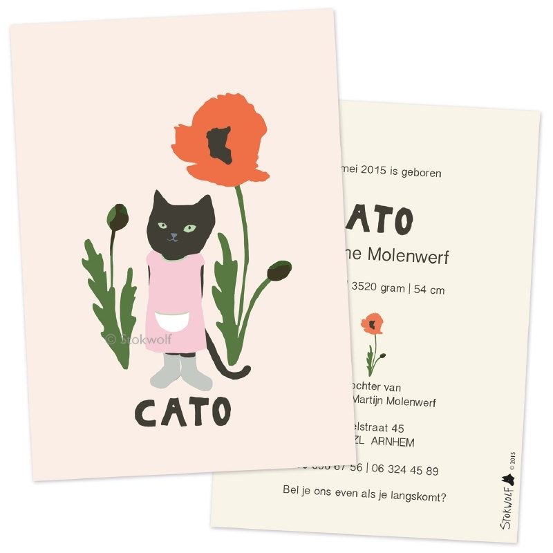 birth card 'Cat girl and poppy'