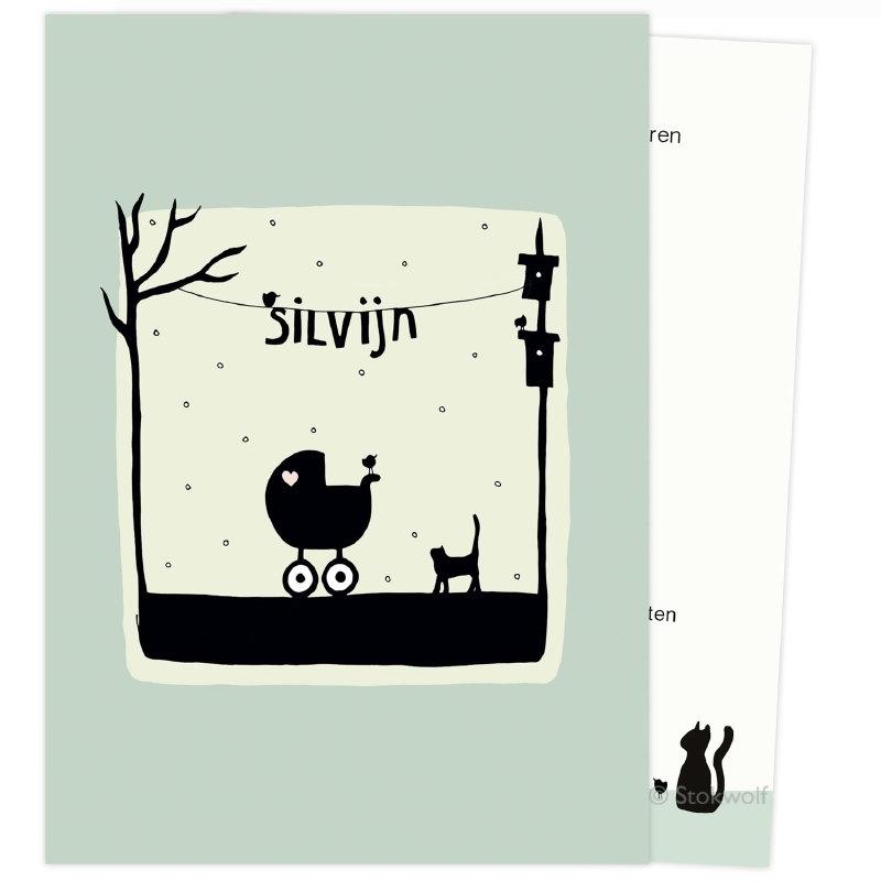 proefkaart | Poes en vogel winter (grijs-groen, enkel)
