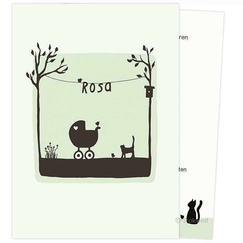 proefkaart   Poes en vogel lente (crème- zacht groen, gevouwen)