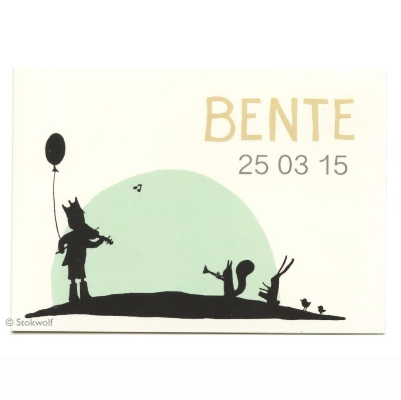 geboortekaartje Fanfare (groen oker)