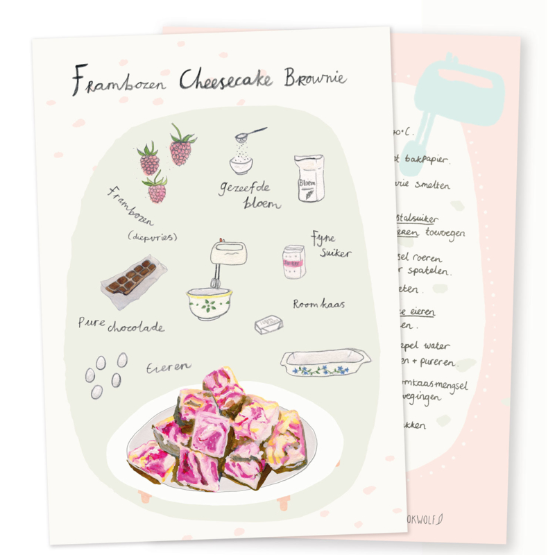 Recipe greeting card | Raspberry cheese cake brownie
