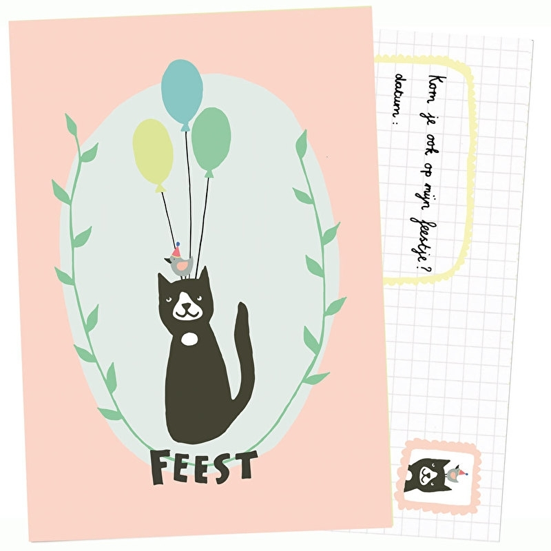 Uitnodiging kinderfeestje | Verjaardagskat