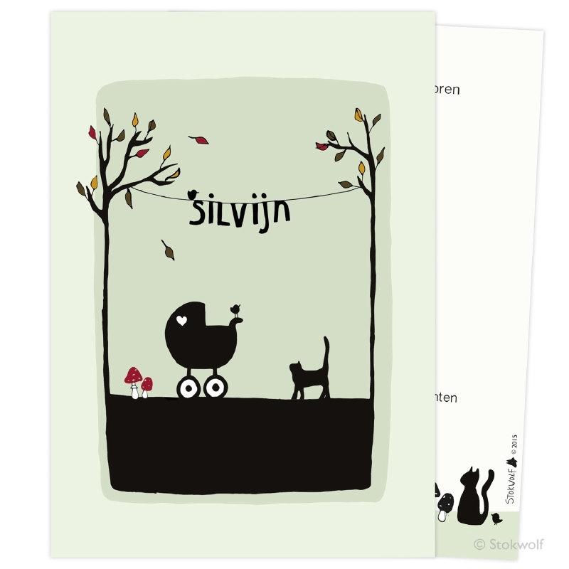 proefkaart | Poes en vogel herfst (crème-oud groen, enkel)
