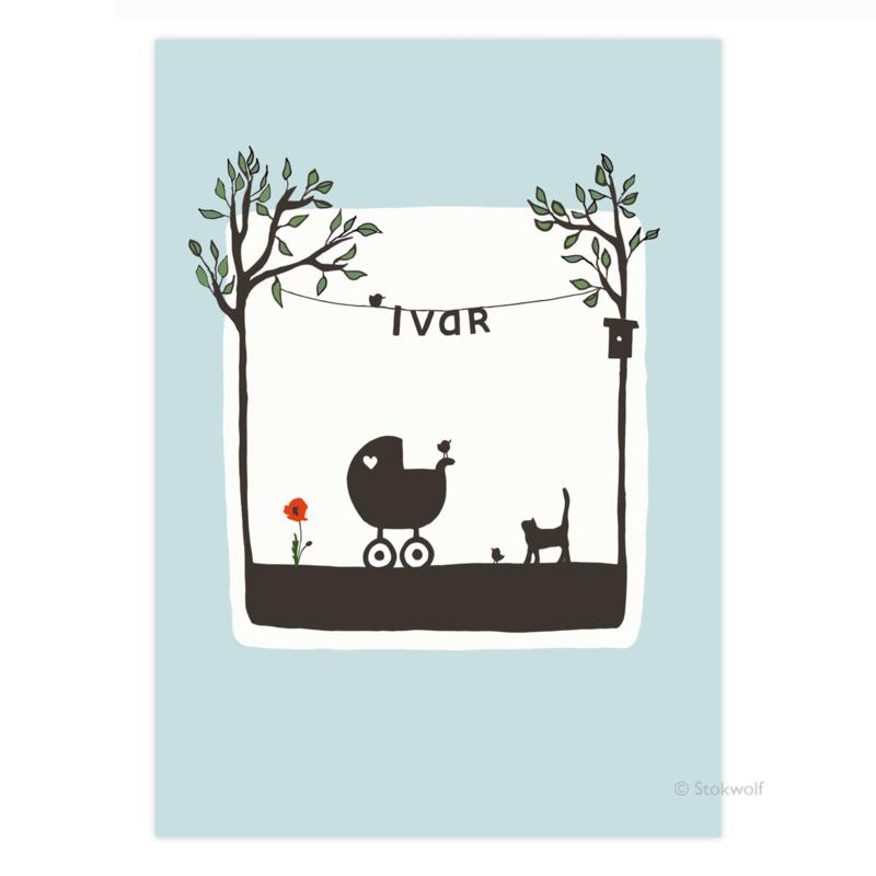 proefkaart | Poes en vogel zomer (blauw)