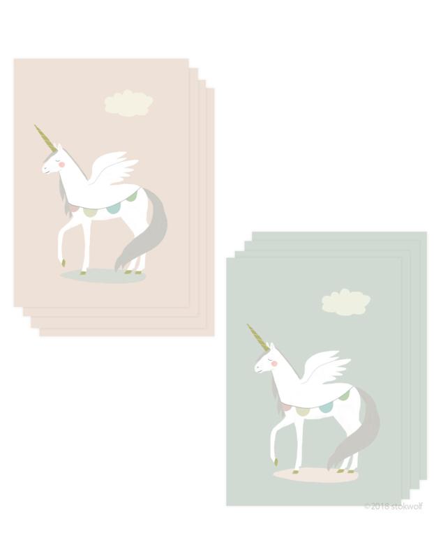 Mini kaartjes  | eenhoorn (set)
