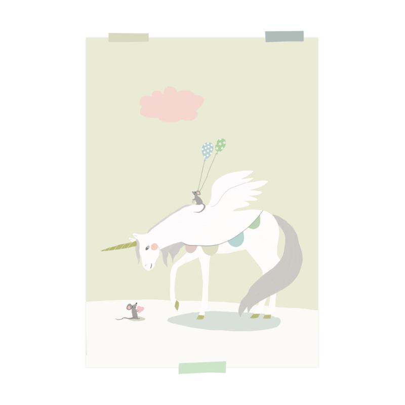 print | Eenhoorn en muis (geel)