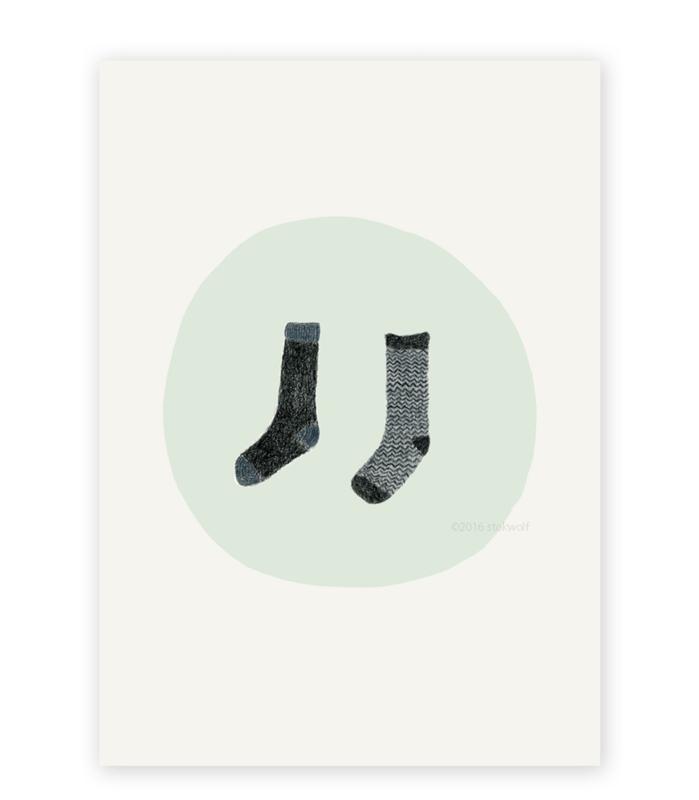postkaart 'Twee sokken'
