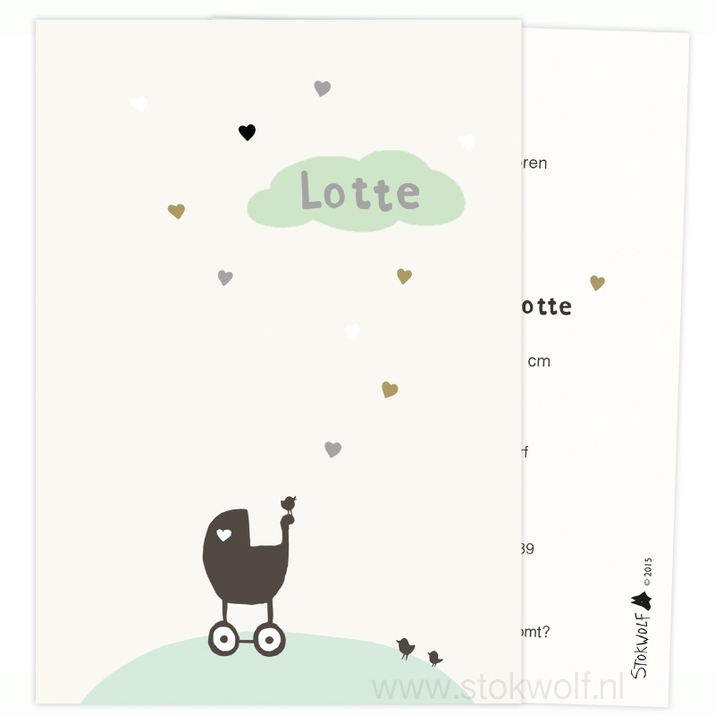 Birth card 'hearts' (creme-mint green)