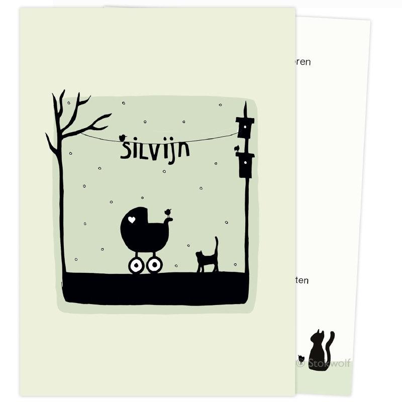 proefkaart | Poes en vogel winter (crème-oud groen, enkel)