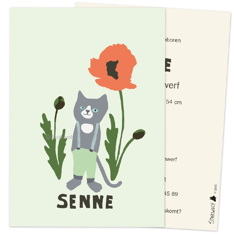 Sample 'Cat and poppy' (green)