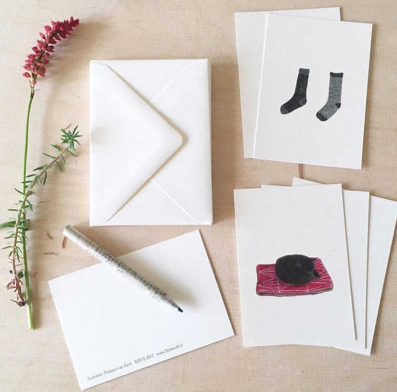 mini kaartjes en envelop | Poes & sokken (set)